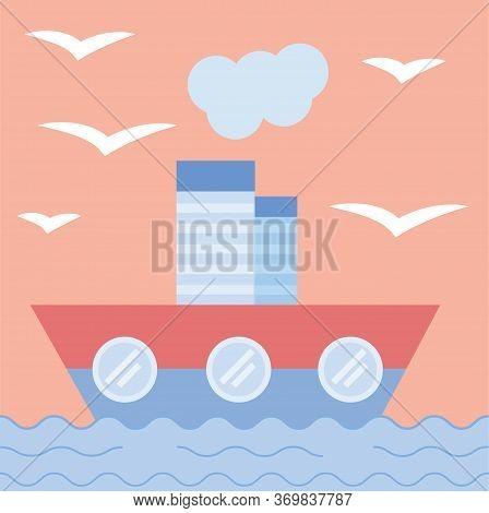 The Ship Sails Into The Sea. Concept Of Cruise, Voyage, Sea Trip. Flat Style. Postcard. Vector Illus
