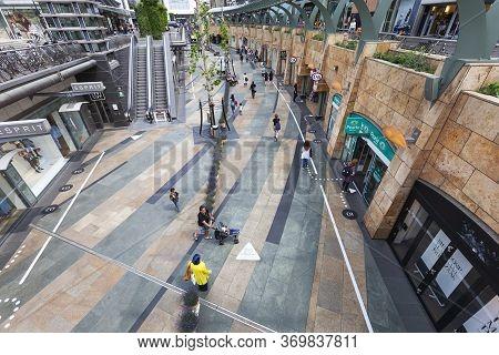 Rotterdam, Netherlands - June 3, 2020: Sunken Shopping Passage The Koopgoot During Coronavirus Pande