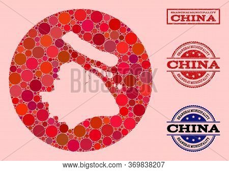 Vector Map Of Shanghai Municipality Collage Of Round Dots And Red Grunge Seal Stamp. Stencil Round M