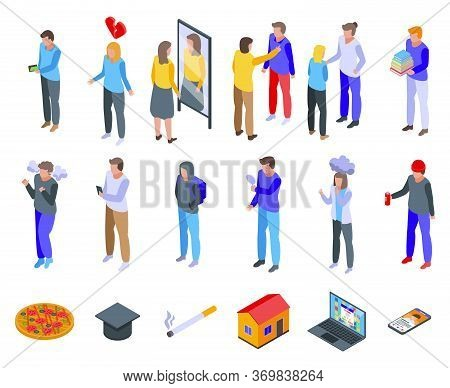 Teen Problems Icons Set. Isometric Set Of Teen Problems Vector Icons For Web Design Isolated On Whit