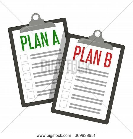 Plan A And Plan B Vector Isolated. Business Strategy
