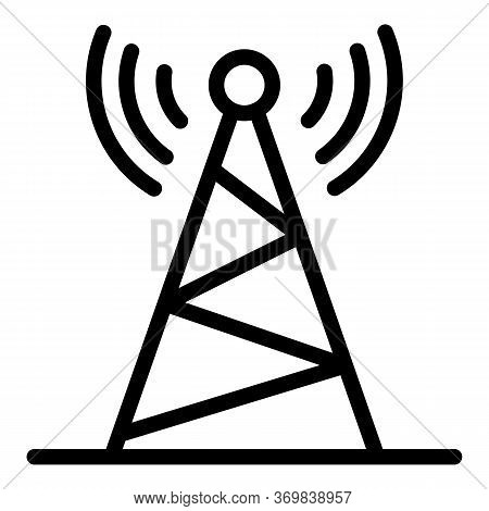 Radio Steel Tower Icon. Outline Radio Steel Tower Vector Icon For Web Design Isolated On White Backg
