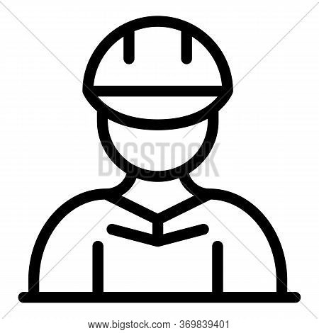 Construction Engineer Icon. Outline Construction Engineer Vector Icon For Web Design Isolated On Whi