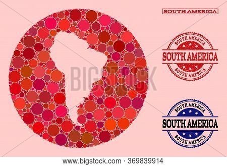 Vector Map Of South America Collage Of Round Dots And Red Grunge Seal Stamp. Stencil Round Map Of So