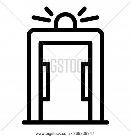 Globe Metal Detector Icon. Outline Globe Metal Detector Vector Icon For Web Design Isolated On White