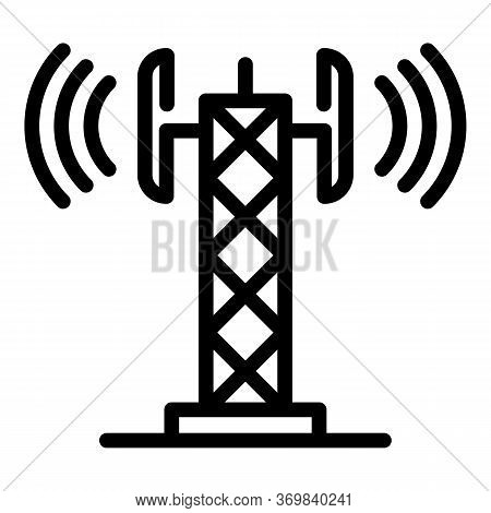 Gsm Tower Radio Icon. Outline Gsm Tower Radio Vector Icon For Web Design Isolated On White Backgroun