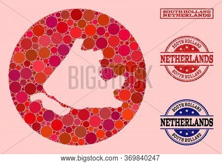 Vector Map Of South Holland Collage Of Circle Elements And Red Scratched Stamp. Stencil Circle Map O