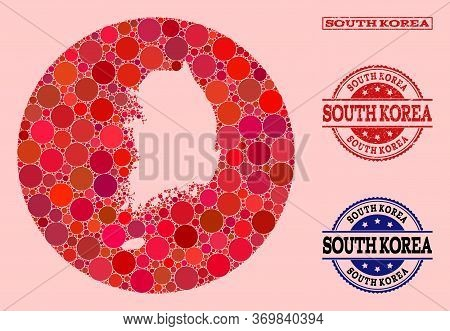Vector Map Of South Korea Collage Of Round Dots And Red Scratched Seal Stamp. Stencil Round Map Of S