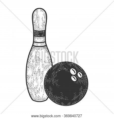Bowling Pin And Ball Sketch Engraving Vector Illustration. T-shirt Apparel Print Design. Scratch Boa