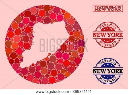 Vector Map Of Staten Island Collage Of Round Elements And Red Grunge Seal Stamp. Stencil Round Map O
