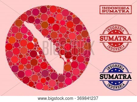 Vector Map Of Sumatra Island Collage Of Circle Blots And Red Rubber Stamp. Hole Circle Map Of Sumatr