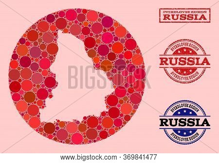 Vector Map Of Sverdlovsk Region Collage Of Round Dots And Red Scratched Stamp. Hole Circle Map Of Sv