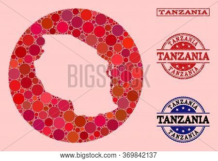 Vector Map Of Tanzania Collage Of Round Elements And Red Grunge Stamp. Subtraction Round Map Of Tanz