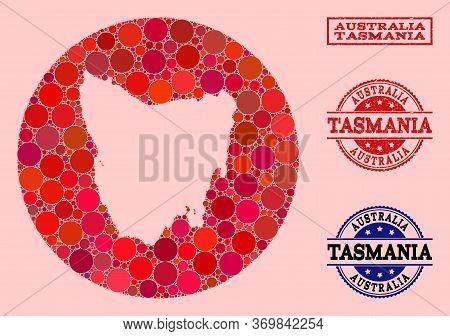 Vector Map Of Tasmania Island Mosaic Of Circle Blots And Red Grunge Seal Stamp. Hole Circle Map Of T