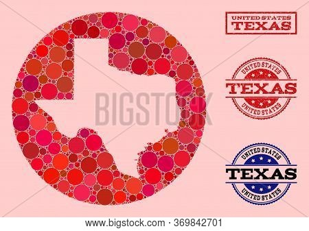 Vector Map Of Texas State Collage Of Circle Dots And Red Watermark Seal Stamp. Subtraction Round Map