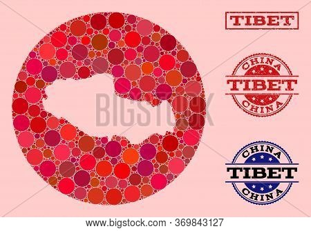 Vector Map Of Tibet Mosaic Of Round Items And Red Scratched Seal. Stencil Round Map Of Tibet Collage