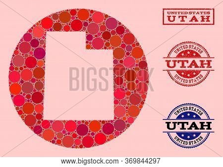 Vector Map Of Utah State Collage Of Round Items And Red Grunge Stamp. Subtraction Round Map Of Utah