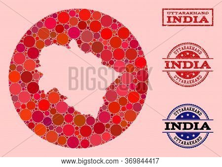 Vector Map Of Uttarakhand State Collage Of Circle Elements And Red Watermark Stamp. Stencil Circle M