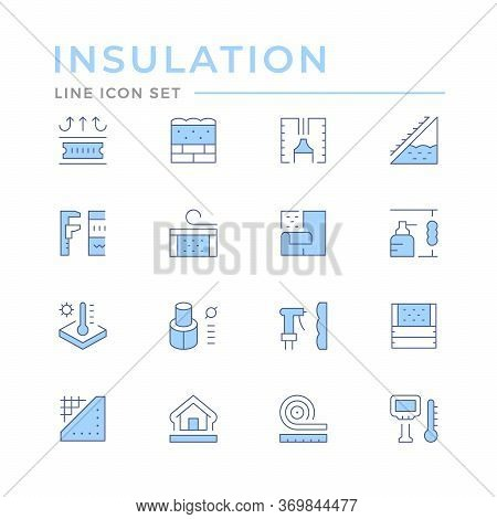 Set Color Line Icons Of Insulation Isolated On White. Vector Illustration