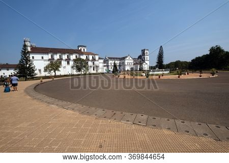 OLD GOA, INDIA - FEBRUARY 18, 2020: Se Cathedral and the church of St Francis of Assisi, Goa, India