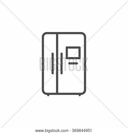 Side By Side Fridge Line Outline Icon Isolated On White. Refrigerator, Cooler, Closed Electric Appli