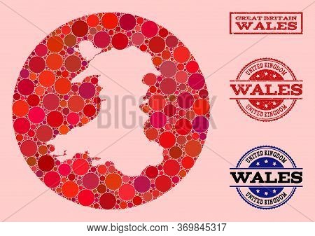 Vector Map Of Wales Mosaic Of Round Elements And Red Grunge Seal Stamp. Hole Round Map Of Wales Coll