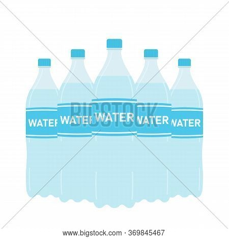 Bottle Of Clean Water In Plastic Packaging. Natural Drink. Refreshing Mineral Carbonated Drink. Vect