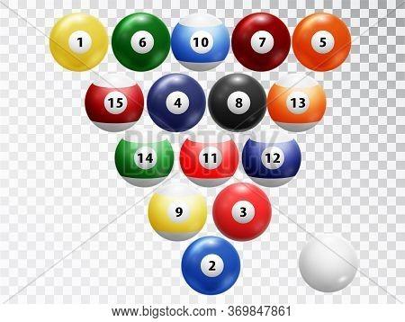 Billiard Balls Isolated. Glossy Shiny Balls Collection. Assorted Billiard Balls Isolated On Transpar