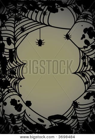 Halloween Background With Spider\\\'S Web 2