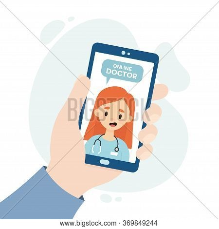 Online Doctor Consultation. Medical Consultation Through Video Call. Doctor Consulting A Patient Thr