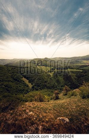 Beautiful Scenic View Of Valley And Big Hills (mountains) In Slovakia On Sunset With Cloudy Sky. Per