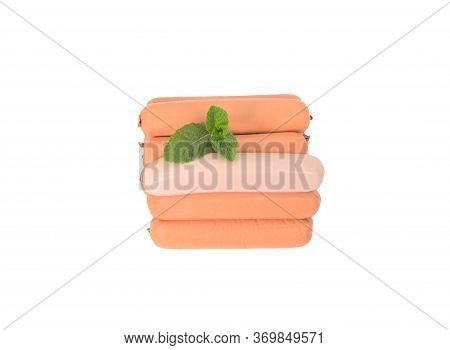 Sausages In A Cover, On A White Background. Boiled Sausages For Preparation Of A Hot Dog. Meat Sausa