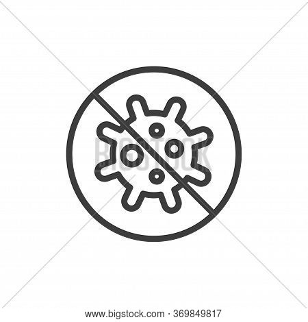 No Bacteria Symbol. Anti Virus Icon. Coronavirus Danger And Public Health Risk.