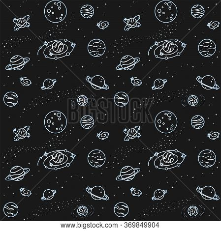 Seamless Pattern With Different Planets, Galaxies And Stars On A Black Background. Deep Space. Vecto