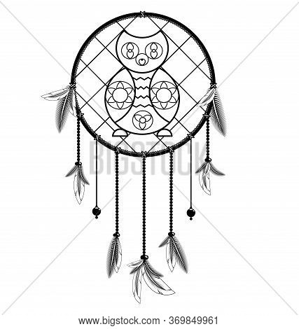 White Black Colored Image Of Dreamcatcher With Feathers And Owl