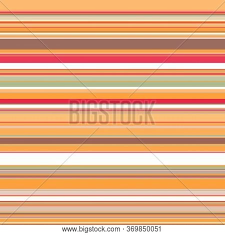 Seamless Horizontal Stripes Pattern In Warm Orange-red Colors With The Addition Of White, Gray And B