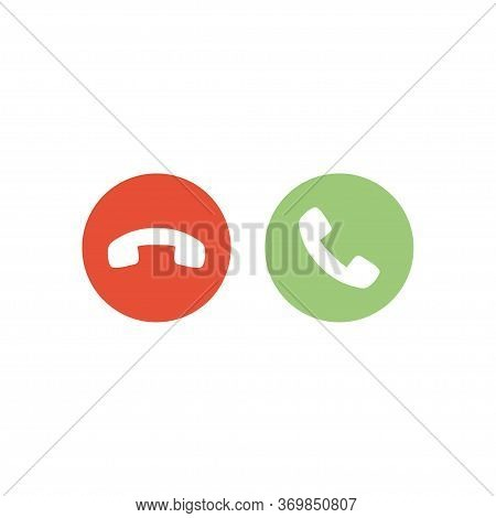Accept/answer Phone Call And Decline Phone Call Buttons.  Vector Illustration Icons.