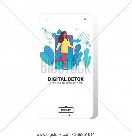 Woman Coming Out Of Cellphone Digital Detox Concept Girl Escaping From Digital Addiction Abandoning