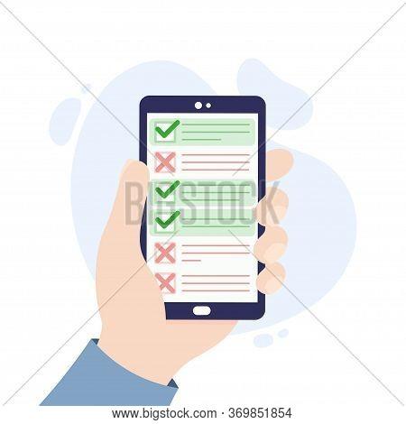 Mobile Application For Questionnaires, Surveys, Polls, Checklists. Online Survey App. Hand Holding A
