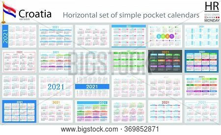 Croatian Horizontal Set Of Pocket Calendars For 2021 (two Thousand Twenty One). Week Starts Monday.