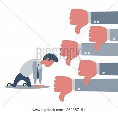 Group Of Business Man Show Dislike Or Unlike Thumbs Down Hand To Sad Businessman Character On The Kn