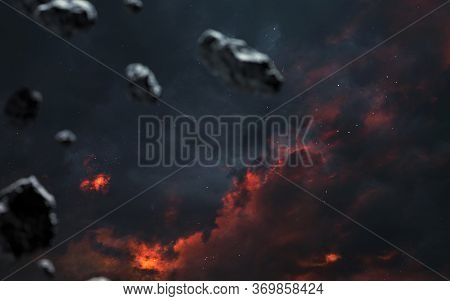 Meteors In Endless Cold Space. Elements Of This Image Furnished By Nasa