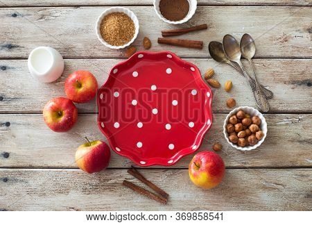 Food Wooden Background With Empty Cooking Tray,red Apples And Baking Ingredients On Natural Wooden B