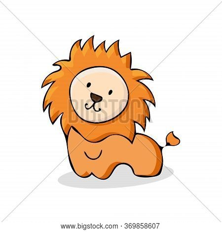 Weban Illustration Of A Kind, Naive, Baby Lion. Vector