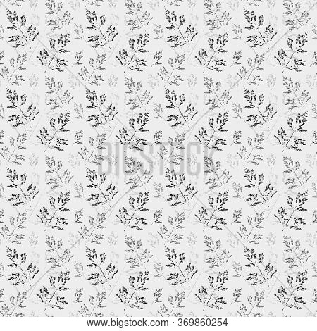 Imprint Of A Natural Blade Of Grass With Gouache On Paper. Creative Seamless Pattern For Textiles, P