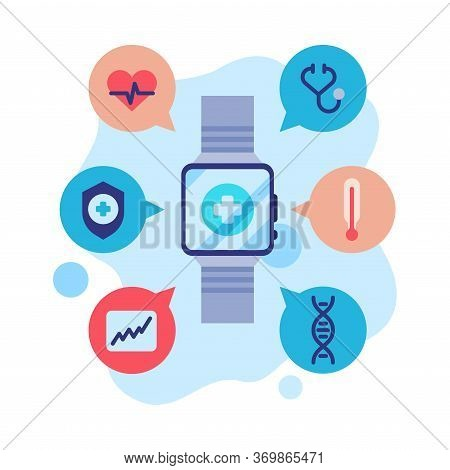 Smartwatch App Modern Technology, Health Monitoring Applications Flat Style Vector Illustration On W