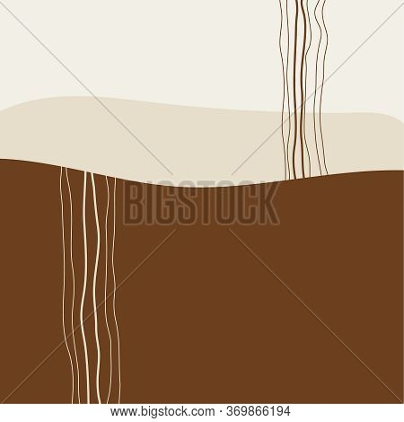 Mid Century Modern Abstract Art. Vector Illustration With Organic Shapes, Curved Lines. Terracotta T