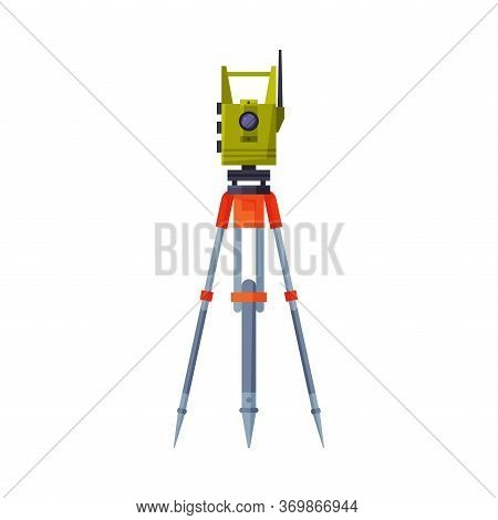 Theodolite On Tripod, Geodetic Equipment, Measuring Instrument Flat Style Vector Illustration On Whi