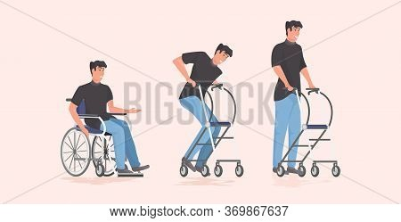 Evolution Of Disabled Man Patient Sitting In Wheelchair Staying With Crutches Rehabilitation Concept