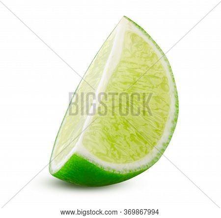 Lime Slice. Green Lemon Lime Cut Closeup Detailed On White Background Isolated. Tasty Slice Citrus F